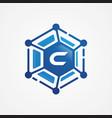 technology design orbit shape hexagon with vector image vector image