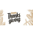 thanksgiving day poster with leaves pumpkin and vector image vector image