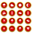 weather icon red circle set vector image vector image