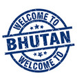 welcome to bhutan blue stamp vector image vector image