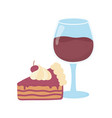wine glass cup and slice cake on white background vector image vector image