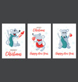 winter holiday christmas cards set with vector image vector image