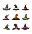 witchcraft hats set caps wizard and magicians vector image vector image