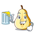 with juice half of pear isolated on cartoon vector image
