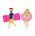 young couple walking with inflatable mattress vector image vector image