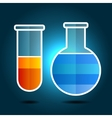 Education Chemistry Themed Infographic with Flasks vector image