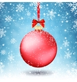 Red Christmas ball with ribbon and a bow on vector image