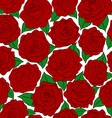seamless pattern of red roses on white background vector image