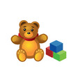 isometric cute teddy bear and colorful cubes vector image