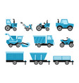 agricultural harvesting vehicles set with tractor vector image
