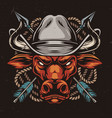angry red bull head in cowboy hat vector image
