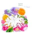 Background with summer flowers and watercolors-04 vector image