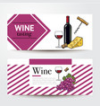 banners with wine bottle glass grapes cheese vector image vector image