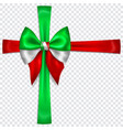 bow in colors italy flag with crosswise ribbons vector image