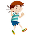 Boy hurting his ear vector image