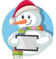 cartoon christmas snowman holding digital tablet vector image vector image