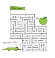 cartoon crocodile maze game vector image