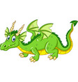 cartoon dragon isolated on white bacground vector image vector image
