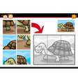 cartoon turtle jigsaw puzzle game vector image vector image