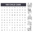 child care line icons signs set outline vector image vector image