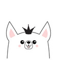 corgi dog happy face head icon princess crown vector image