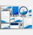 creative business stationery design in blue vector image vector image