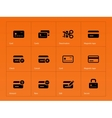 Credit card icons on orange background vector image vector image