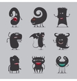 Cute black monsters icons vector image vector image