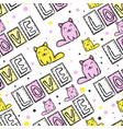cute cat seamless pattern in patchwork style vector image