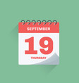 day calendar with date september 19 vector image vector image