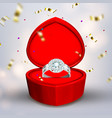 diamond silver ring in shape of heart box vector image vector image