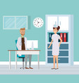 doctor with nurse in consulting room vector image