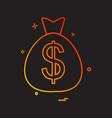 dollar bag icon design vector image