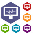 electrocardiogram monitor icons set vector image vector image
