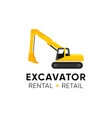 excavator logo with title company and tagline vector image