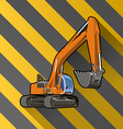 excavator on black and yellow stripped vector image vector image