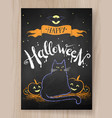 halloween postcard color chalked design vector image vector image