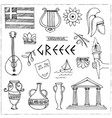 hand drawn greece travel collection of icons vector image