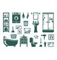 handdrawn bathroom equipment set modern washing vector image vector image