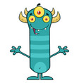 happy horned blue monster cartoon character vector image vector image