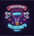happy valentines day neon greetings card poster vector image
