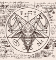 head a horned goat and pentagram vector image vector image