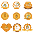 Honey and bees badges and labels vector image