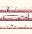 horizontal banners flock birds on city power vector image
