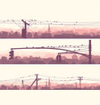 horizontal banners of flock birds on city power vector image