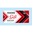 horizontal gift voucher red lines on white vector image vector image