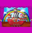 kids playing pirate on stage vector image vector image