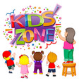 kids zone text with children creating it vector image vector image