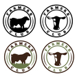 labels set of farmers club with cows vector image
