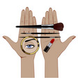 linear color drawing female hands with makeup vector image vector image